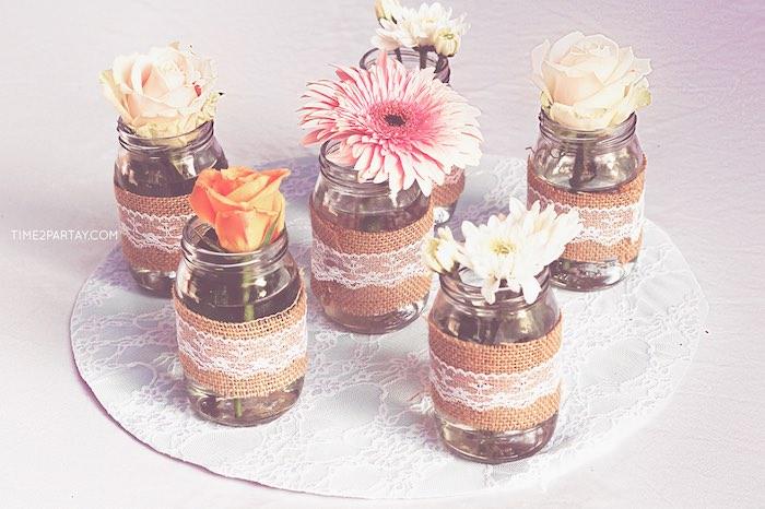 Mason jar flower centerpieces from a Dream Catcher Baby Shower via Kara's Party Ideas | KarasPartyIdeas.com (6)