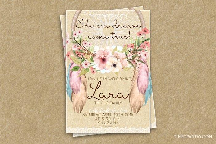 Invitation from a Dream Catcher Baby Shower via Kara's Party Ideas | KarasPartyIdeas.com (4)