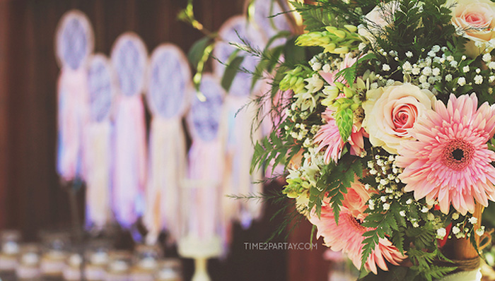 Florals from a Dream Catcher Baby Shower via Kara's Party Ideas | KarasPartyIdeas.com (3)