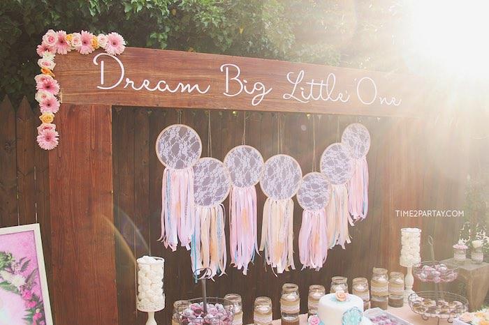 Dream catcher table backdrop from a Dream Catcher Baby Shower via Kara's Party Ideas | KarasPartyIdeas.com (39)