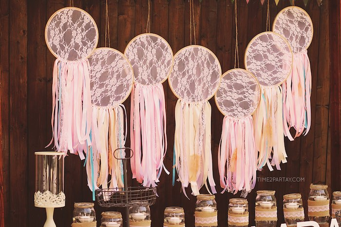 Stunning dream catcher backdrop from a Dream Catcher Baby Shower via Kara's Party Ideas | KarasPartyIdeas.com (37)