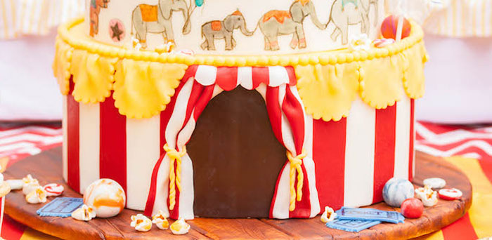 Big top cake detail from a Dumbo Circus Birthday Bash via Kara's Party Ideas | KarasPartyIdeas.com (3)