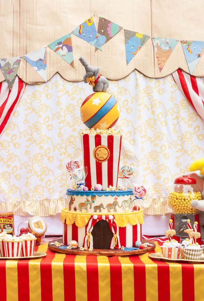 Cake from a Dumbo Circus Birthday Bash via Kara's Party Ideas | KarasPartyIdeas.com (17)