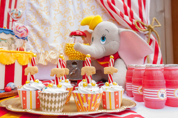 Cupcakes from a Dumbo Circus Birthday Bash via Kara's Party Ideas | KarasPartyIdeas.com (16)