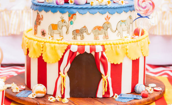 Big top cake detail from a Dumbo Circus Birthday Bash via Kara's Party Ideas | KarasPartyIdeas.com (10)