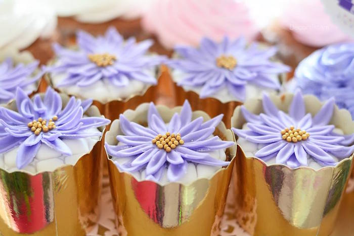 Purple flower cupcakes from an Enchanted Garden 1st Birthday Party via Kara's Party Ideas | KarasPartyIdeas.com - The Place for all Things Party! (11)
