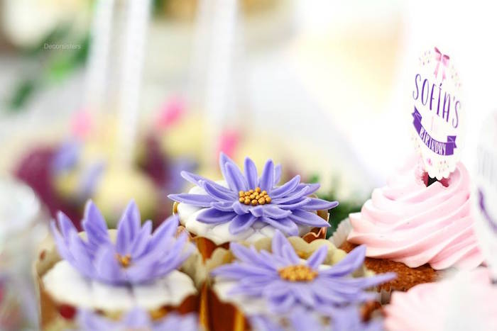 Flower cupcakes from an Enchanted Garden 1st Birthday Party via Kara's Party Ideas | KarasPartyIdeas.com - The Place for all Things Party! (9)