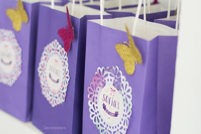 Favor bags from an Enchanted Garden 1st Birthday Party via Kara's Party Ideas | KarasPartyIdeas.com - The Place for all Things Party! (8)