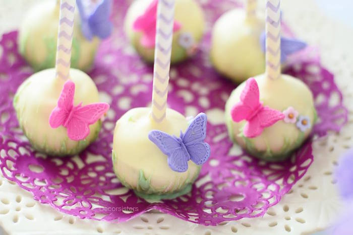 Garden cake pops from an Enchanted Garden 1st Birthday Party via Kara's Party Ideas | KarasPartyIdeas.com - The Place for all Things Party! (7)