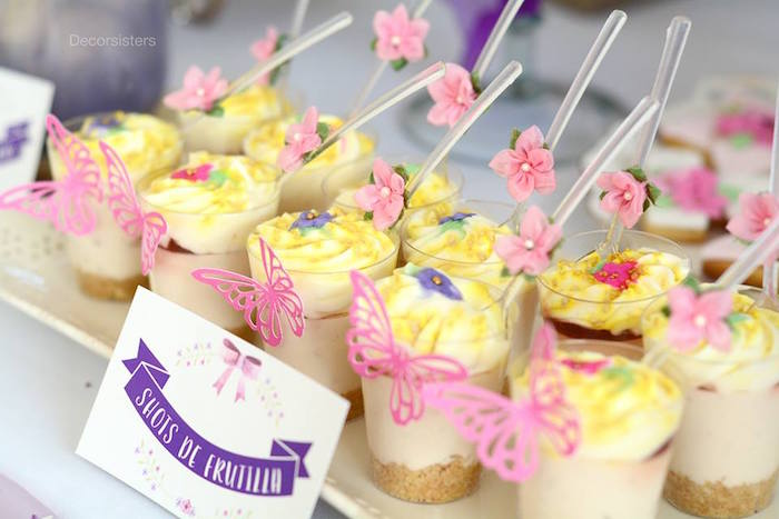 Dessert cups from an Enchanted Garden 1st Birthday Party via Kara's Party Ideas | KarasPartyIdeas.com - The Place for all Things Party! (6)