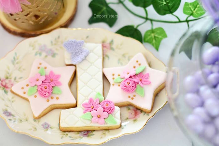 Adorable cookies from an Enchanted Garden 1st Birthday Party via Kara's Party Ideas | KarasPartyIdeas.com - The Place for all Things Party! (23)
