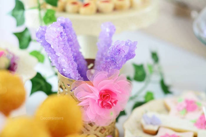 Rock candy sugar sticks from an Enchanted Garden 1st Birthday Party via Kara's Party Ideas | KarasPartyIdeas.com - The Place for all Things Party! (22)