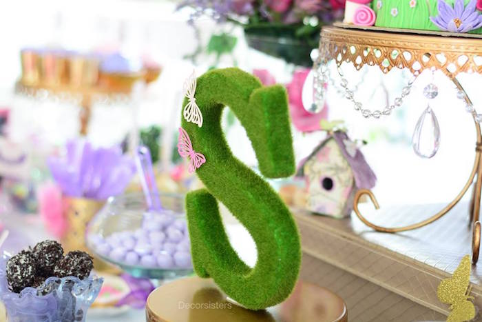 "Garden ""S"" from an Enchanted Garden 1st Birthday Party via Kara's Party Ideas 