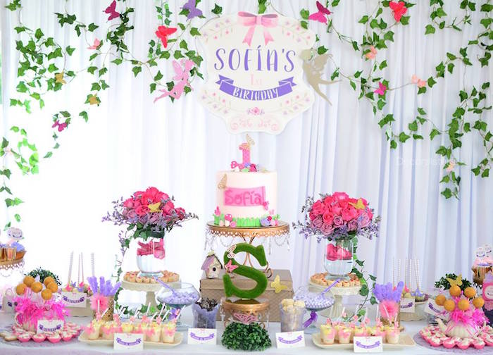 Dessert table from an Enchanted Garden 1st Birthday Party via Kara's Party Ideas | KarasPartyIdeas.com - The Place for all Things Party! (18)