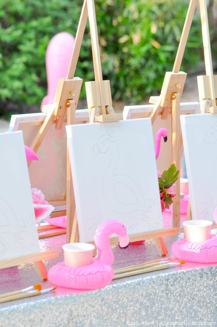 Flamingo Pool + Art Birthday Party by Kara Allen | Kara's Party Ideas KarasPartyIdeas.com Flamingle_-10