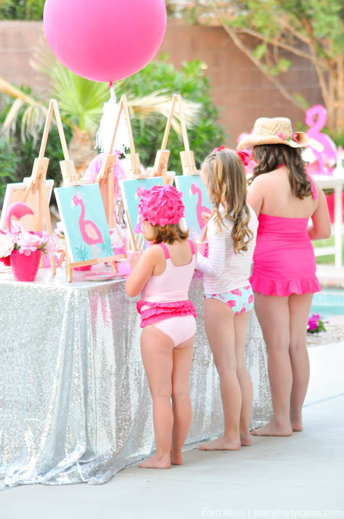 Flamingo Pool + Art Birthday Party by Kara Allen | Kara's Party Ideas KarasPartyIdeas.com Flamingle_-101