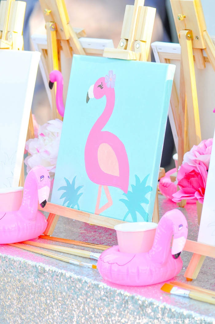 Flamingo Pool + Art Birthday Party by Kara Allen | Kara's Party Ideas KarasPartyIdeas.com Flamingle_-13