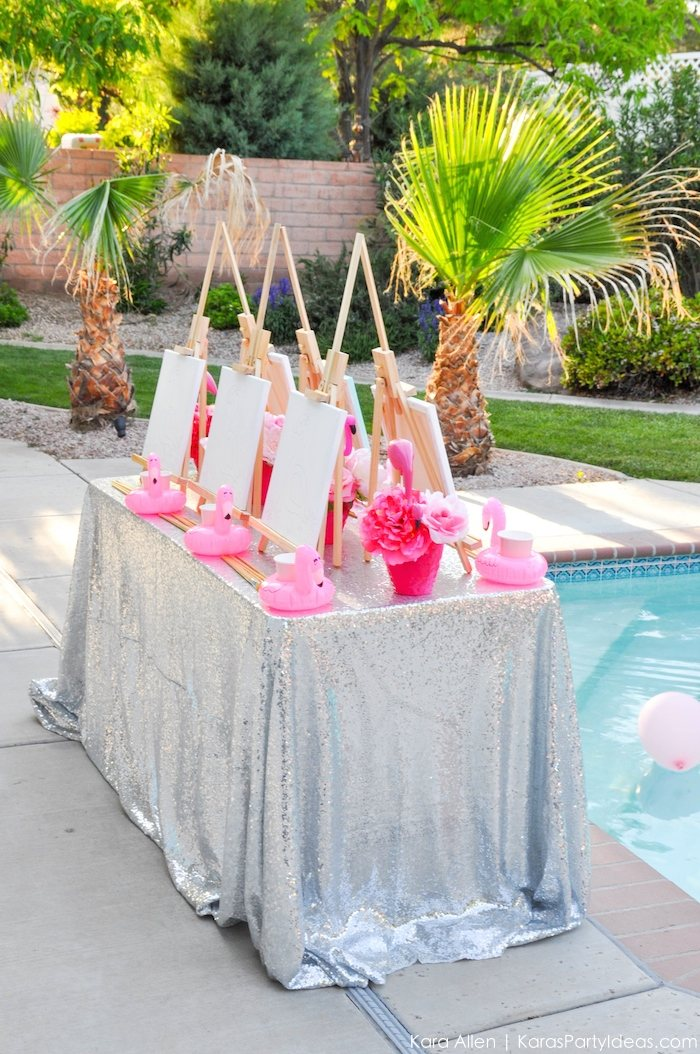 Flamingo Pool + Art Birthday Party by Kara Allen | Kara's Party Ideas KarasPartyIdeas.com Flamingle_-2