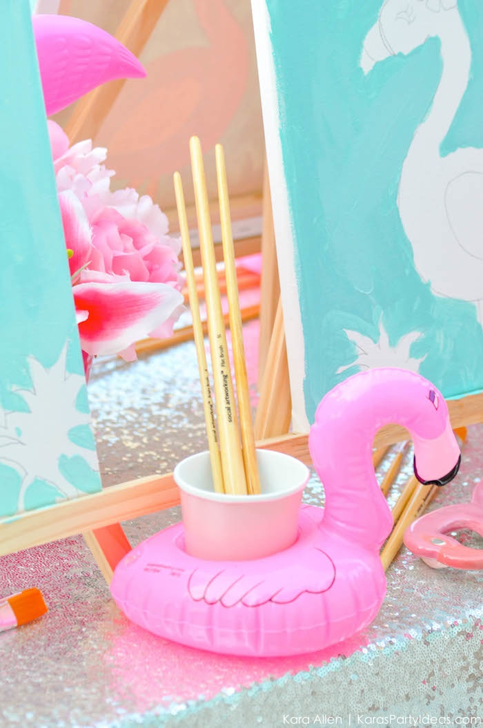 Flamingo Pool + Art Birthday Party by Kara Allen | Kara's Party Ideas KarasPartyIdeas.com Flamingle_-37
