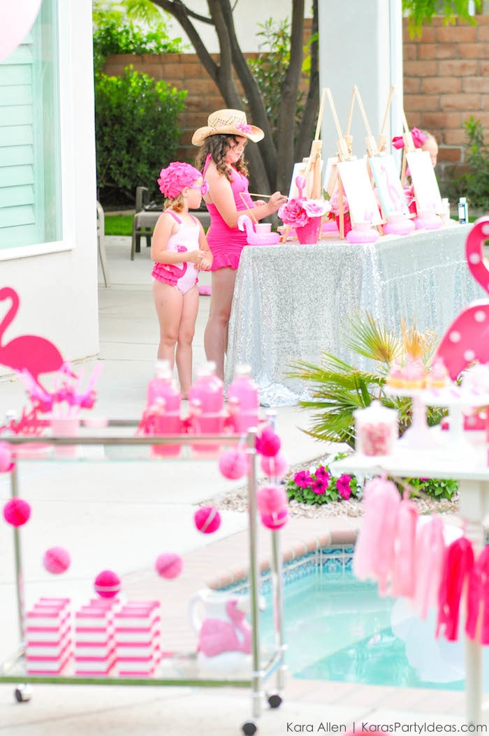 Flamingo Pool + Art Birthday Party by Kara Allen | Kara's Party Ideas KarasPartyIdeas.com Flamingle_-78