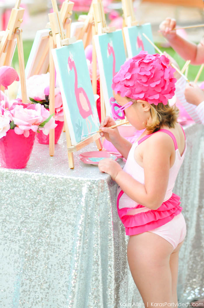 Flamingo Pool + Art Birthday Party by Kara Allen | Kara's Party Ideas KarasPartyIdeas.com Flamingle_-94