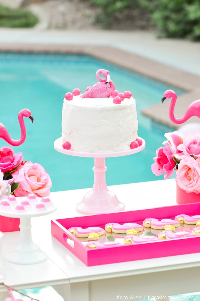 Flamingo cake at a flamingo Pool + Art Birthday Party by Kara Allen | Kara's Party Ideas KarasPartyIdeas.com Flamingle_-90