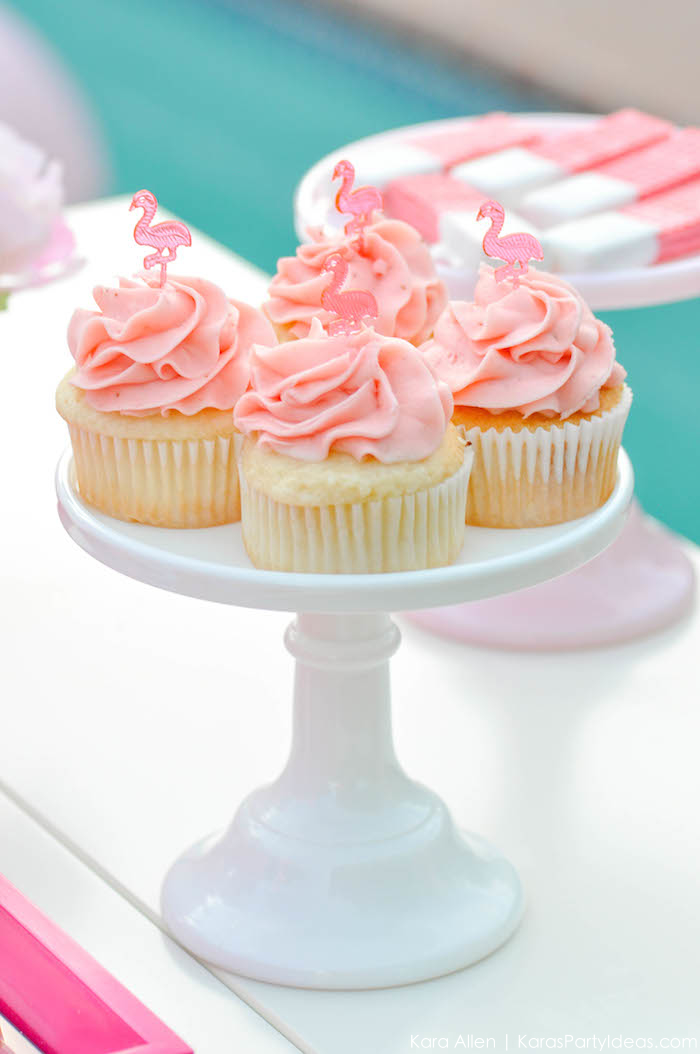 Flamingo cupcakes at a pink flamingo Pool + Art Birthday Party by Kara Allen | Kara's Party Ideas KarasPartyIdeas.com Flamingle_-40