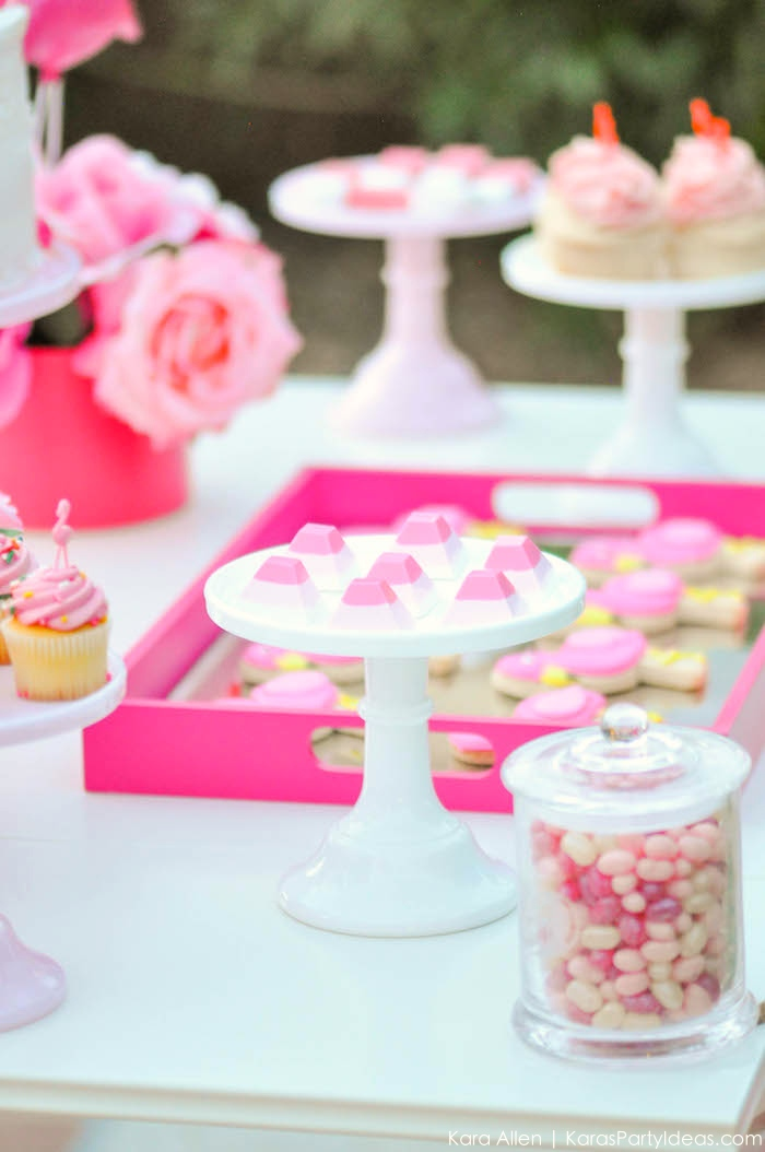 Flamingo dessert table at a pink flamingo Pool + Art Birthday Party by Kara Allen | Kara's Party Ideas KarasPartyIdeas.com Flamingle_-146