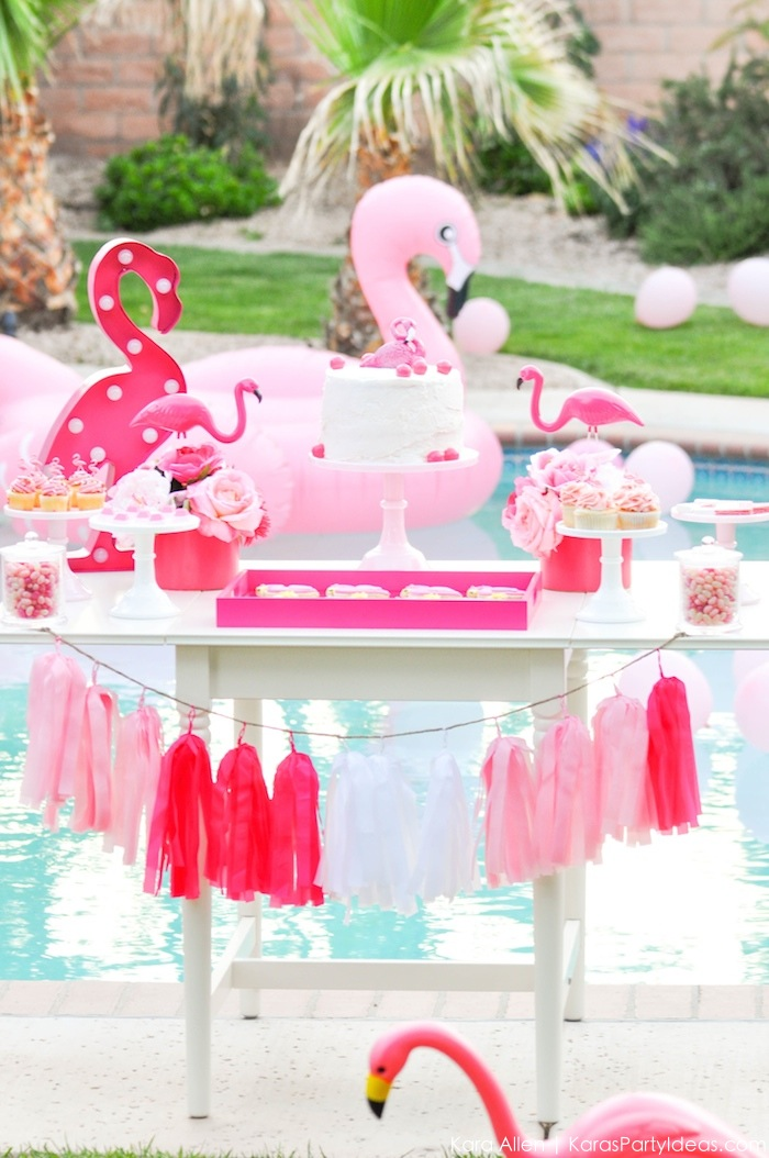 Flamingo dessert table at a pink flamingo Pool + Art Birthday Party by Kara Allen | Kara's Party Ideas KarasPartyIdeas.com Flamingle_-68