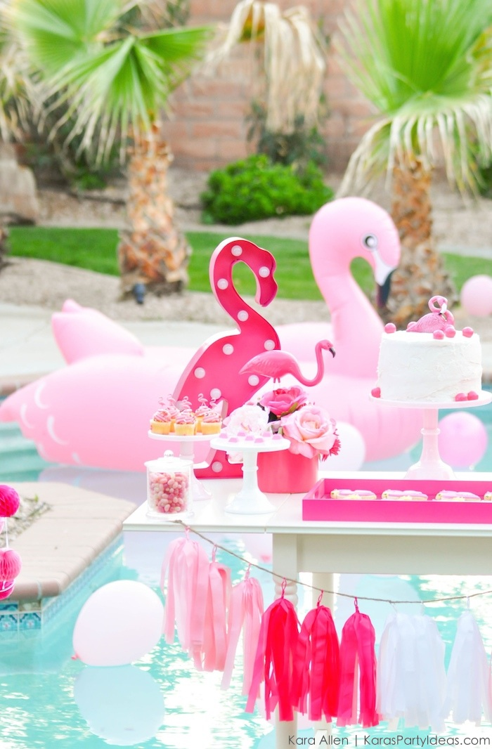 Flamingo dessert table at a pink flamingo Pool + Art Birthday Party by Kara Allen | Kara's Party Ideas KarasPartyIdeas.com Flamingle_-71