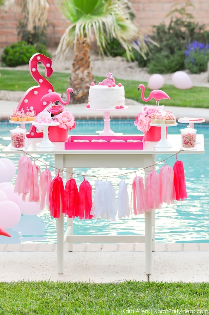 Flamingo dessert table at a pink flamingo Pool + Art Birthday Party by Kara Allen | Kara's Party Ideas KarasPartyIdeas.com Flamingle_-81