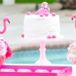 Flamingo dessert table at a pink flamingo Pool + Art Birthday Party by Kara Allen | Kara's Party Ideas KarasPartyIdeas.com Flamingle_-83