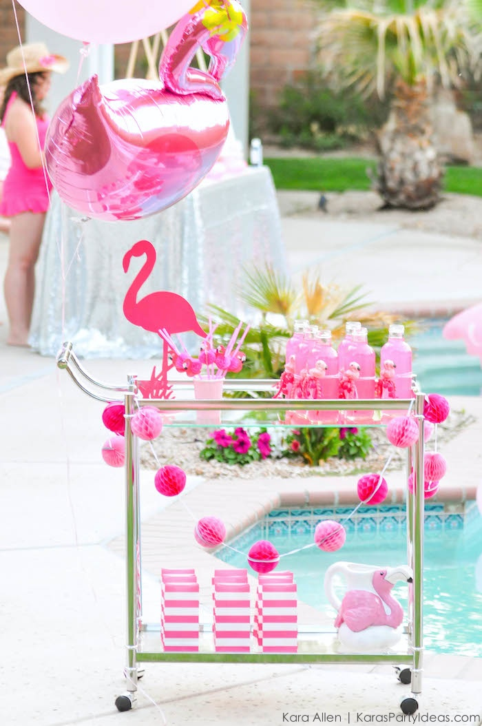 Flamingo drink cart at a pink flamingo Pool + Art Birthday Party by Kara Allen | Kara's Party Ideas KarasPartyIdeas.com Flamingle_-69