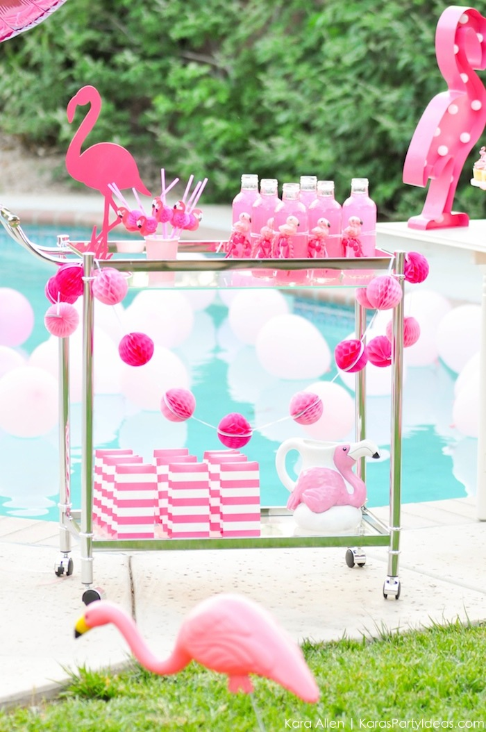 Flamingo drink cart at a pink flamingo Pool + Art Birthday Party by Kara Allen | Kara's Party Ideas KarasPartyIdeas.com Flamingle_-91