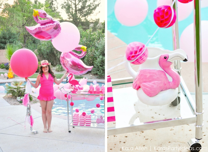Flamingo pool art party by Kara's Party Ideas | Kara Allen
