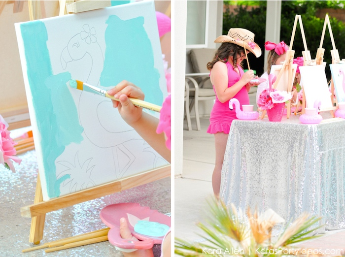 Flamingo themed art pool party by Kara Allen | Kara's Party Ideas