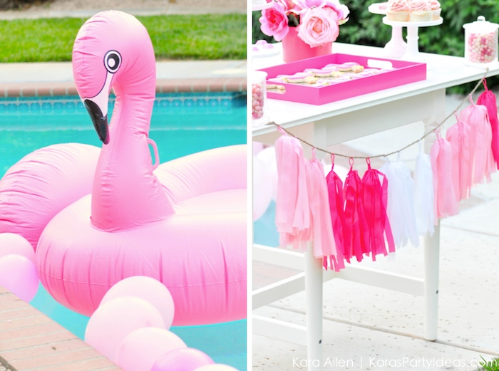 Flamingo themed pool art party by Kara's Party Ideas | Kara Allen | KarasPartyIdeas.com