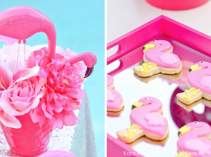 Flamingo themed pool party via Kara's Party Ideas | KarasPartyIdeas.com