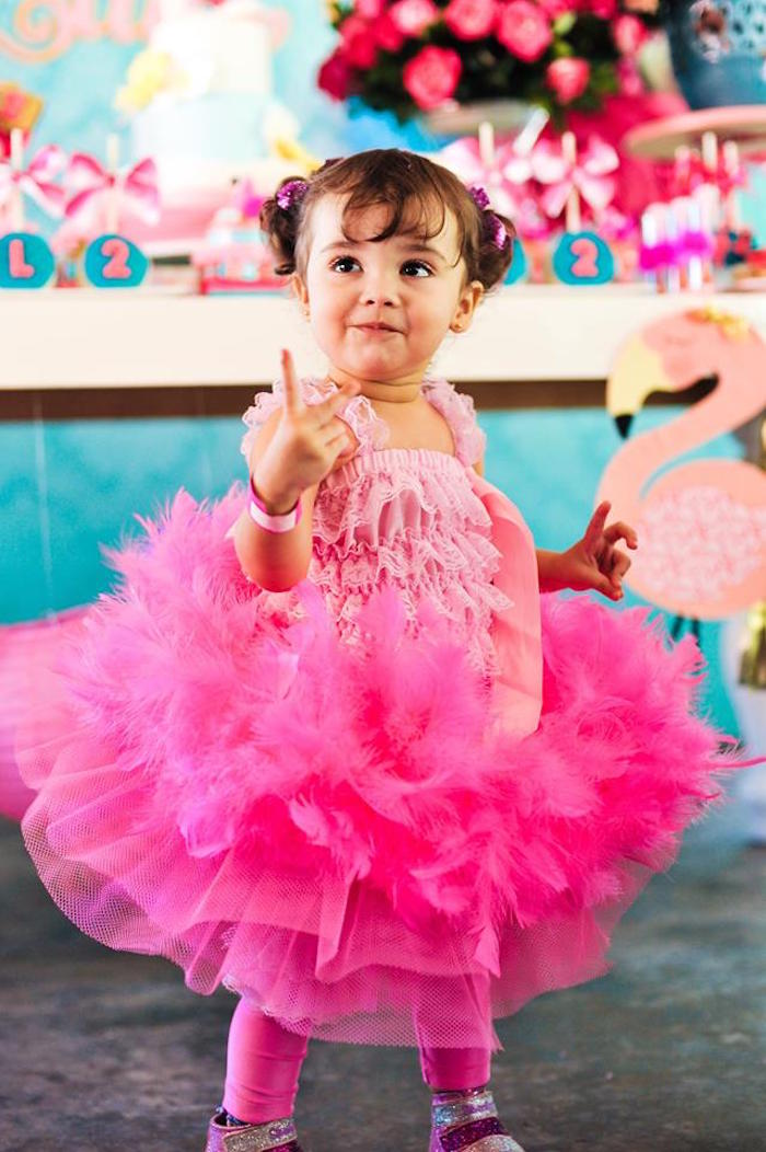 Birthday girl from a Floral Flamingo Party via Kara's Party Ideas | KarasPartyIdeas.com (8)