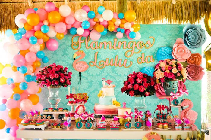 Fancy flamingo party table from a Floral Flamingo Party via Kara's Party Ideas | KarasPartyIdeas.com (17)