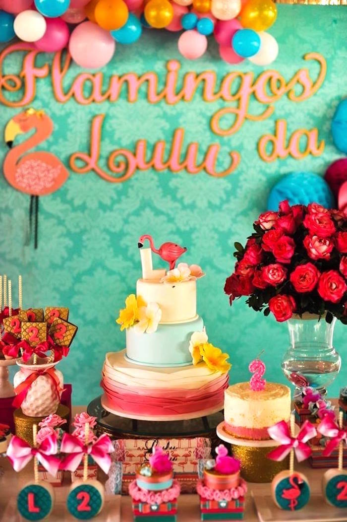 Cake display from a Floral Flamingo Party via Kara's Party Ideas | KarasPartyIdeas.com (16)