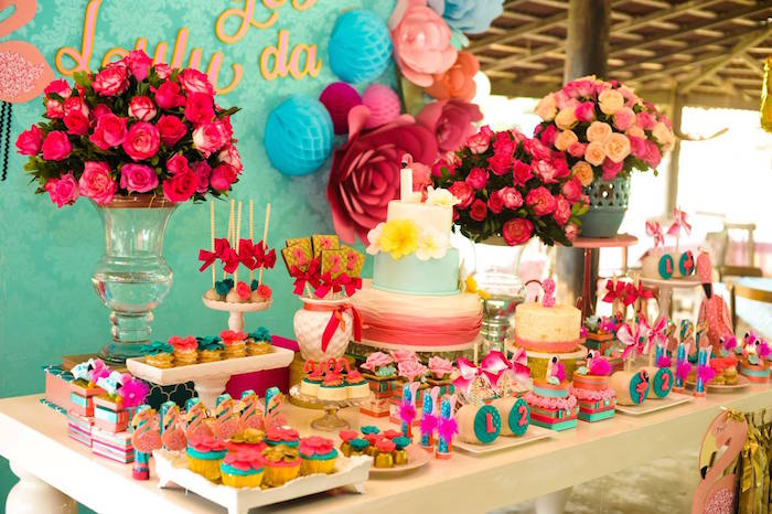Dessert tablescape from a Floral Flamingo Party via Kara's Party Ideas | KarasPartyIdeas.com (15)
