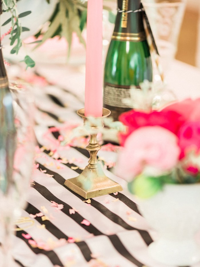 Pink candle placed in a gold candlestick from a Forty & Fabulous Floral Glam Birthday Party via Kara's Party Ideas | KarasPartyIdeas.com- The Place for All Things Party! (27)