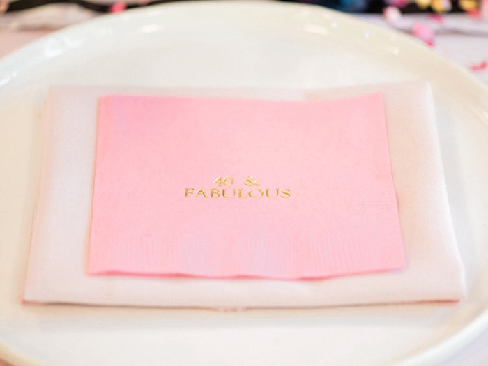 Custom 40 & fabulous napkin from a Forty & Fabulous Floral Glam Birthday Party via Kara's Party Ideas | KarasPartyIdeas.com- The Place for All Things Party! (20)