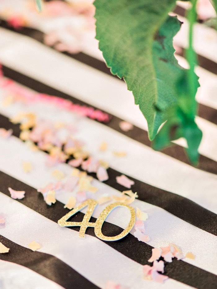 Confetti from a Forty & Fabulous Floral Glam Birthday Party via Kara's Party Ideas | KarasPartyIdeas.com- The Place for All Things Party! (19)