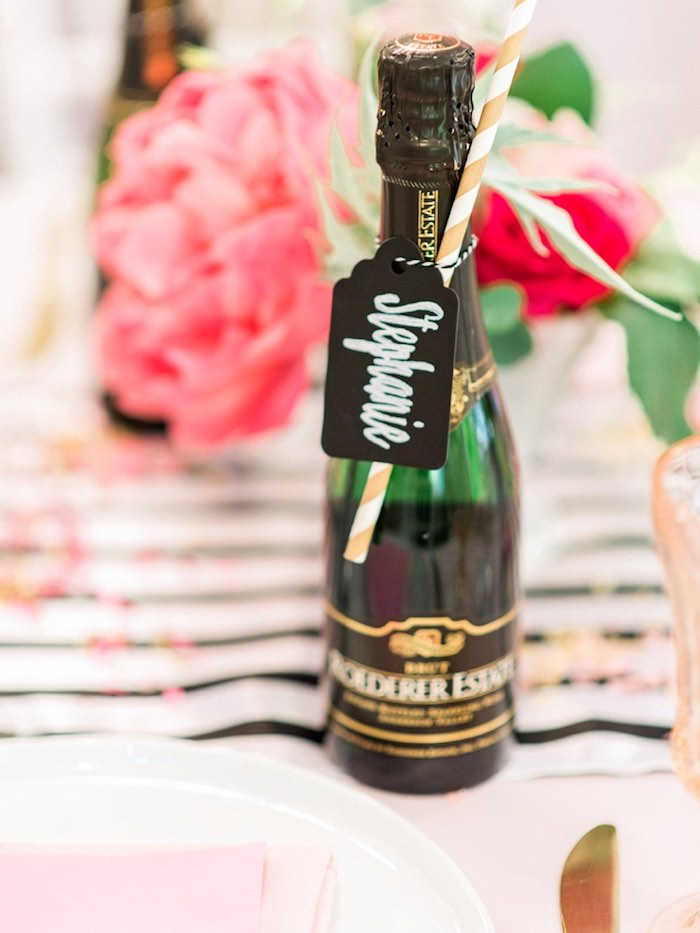 Chalkboard place card tied to a bottle from a Forty & Fabulous Floral Glam Birthday Party via Kara's Party Ideas | KarasPartyIdeas.com- The Place for All Things Party! (37)