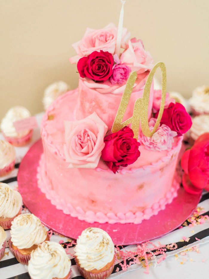 Rose-covered cake from a Forty & Fabulous Floral Glam Birthday Party via Kara's Party Ideas | KarasPartyIdeas.com- The Place for All Things Party! (16)
