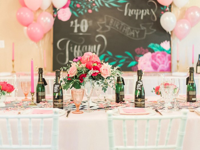 Dining table from a Forty & Fabulous Floral Glam Birthday Party via Kara's Party Ideas | KarasPartyIdeas.com- The Place for All Things Party! (15)