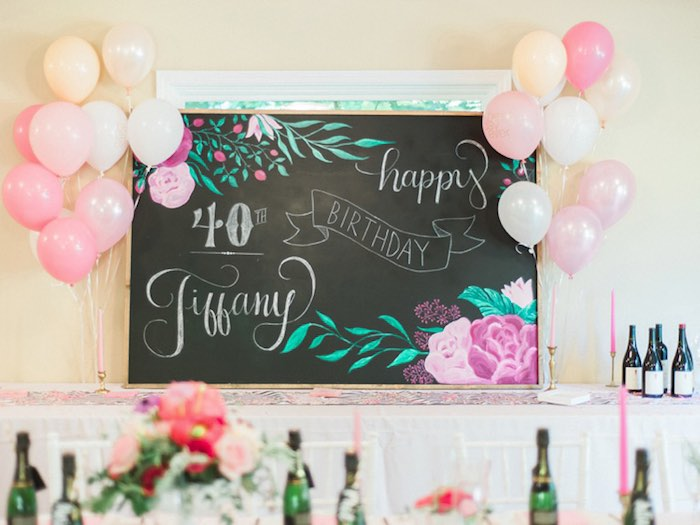 Chalkboard backdrop from a Forty & Fabulous Floral Glam Birthday Party via Kara's Party Ideas | KarasPartyIdeas.com- The Place for All Things Party! (11)
