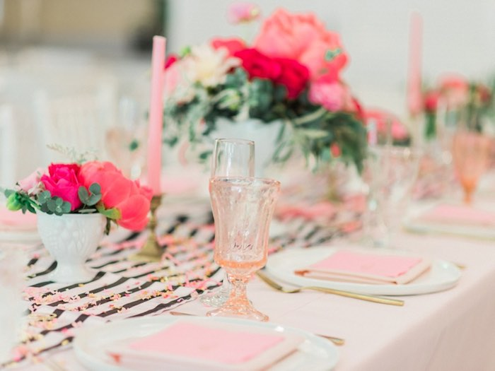 Dining tablescape from a Forty & Fabulous Floral Glam Birthday Party via Kara's Party Ideas | KarasPartyIdeas.com- The Place for All Things Party! (8)